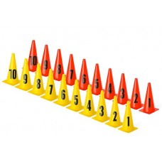 Cones with numbers - Set (1-10) – set of 10 pices 30cm yellow