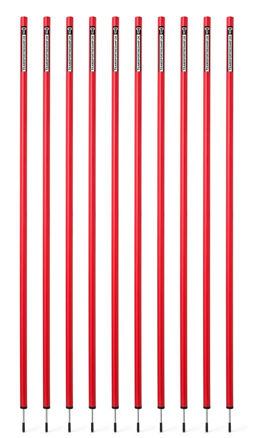 10 Slalom poles 170 cm diameter 32 mm - Red